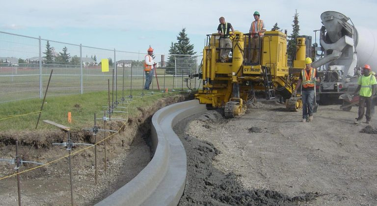 concrete curbing being built in edmonton