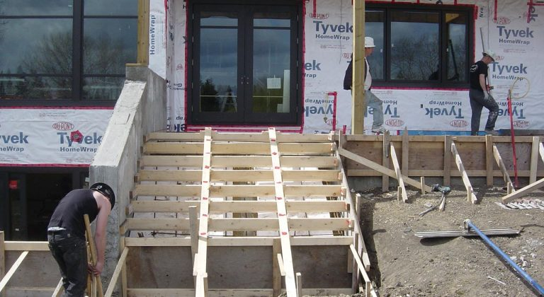 Residential Concrete Stairs Being Built In Edmonton